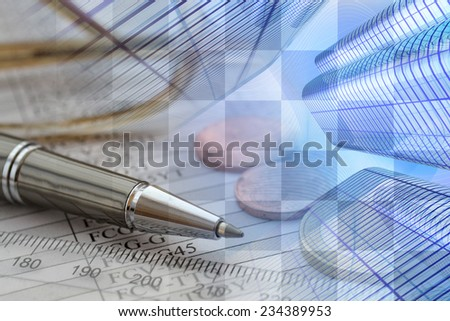 Business background with money, ruler and pen. - stock photo