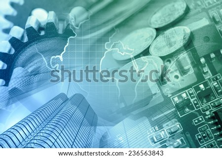 Business background with office buildings and gears, green and blue toned. - stock photo