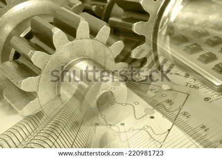 Business background with ruler, gear and graph, in sepia. - stock photo