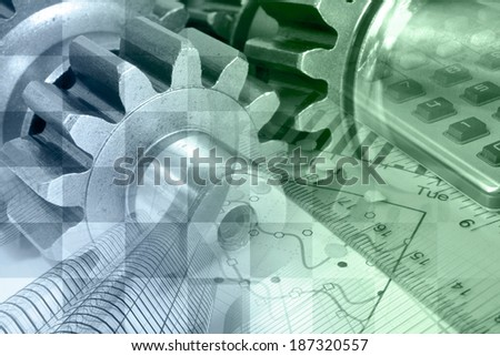 Business background with ruler, gear and table, in greens and blues. - stock photo