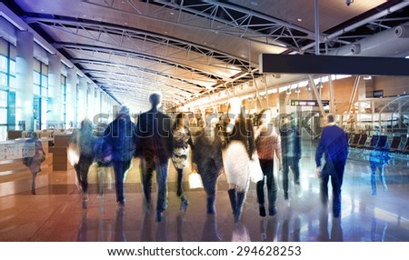 Business background with walking people blur silhouettes  - stock photo