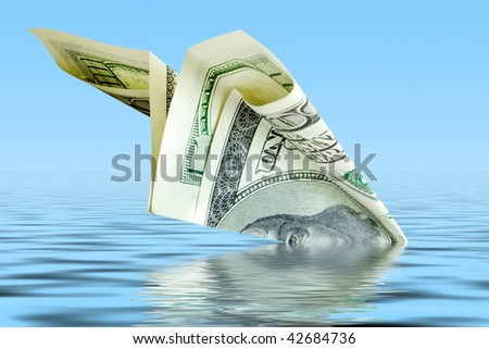 business bankrupt. money plane crash in water - stock photo