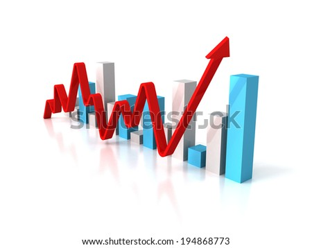 business bar graph diagram with rising arrow. 3d render illustration - stock photo