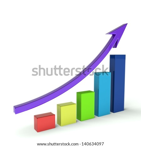 Business Bar graph multicolor - stock photo