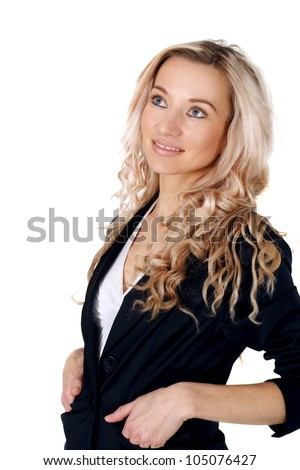 Business beautiful Caucasian blonde girl posing on a white background standing - stock photo