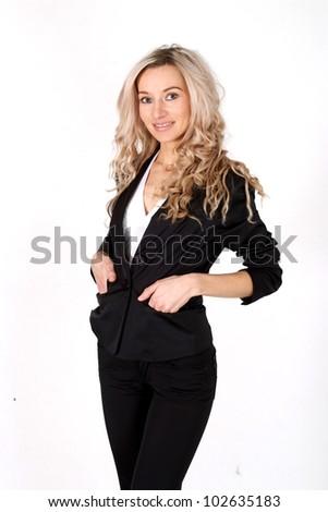 Business beautiful Caucasian woman standing on white background - stock photo