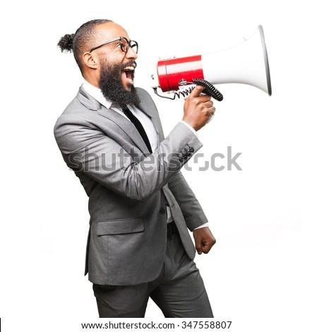 business black man holding a megaphone - stock photo
