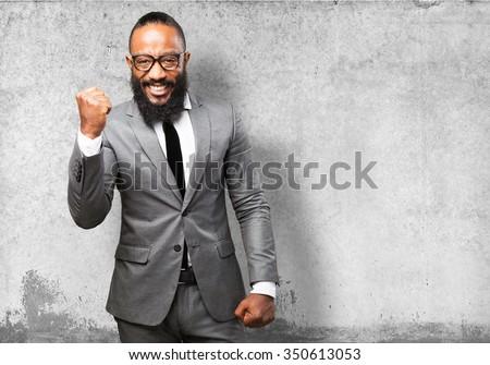 business black man winner - stock photo