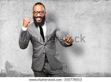 business black man winner gesture - stock photo