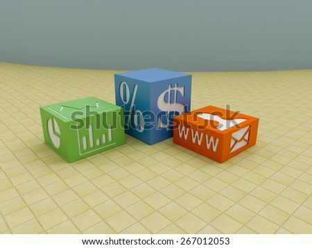 Business blocks on tiled floor with marketing symbols - stock photo