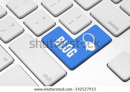 Business blog concept: Blog key on the computer keyboard - stock photo