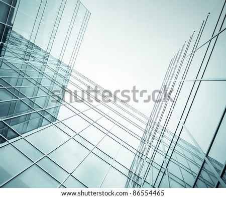 business blue construction from glass - stock photo