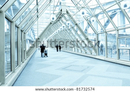 business blue hall - stock photo
