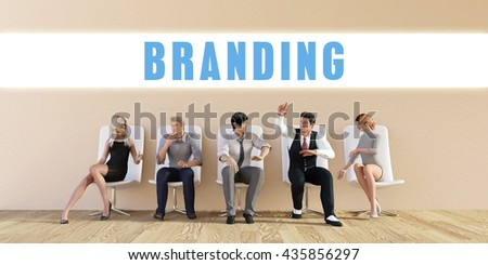 Business Branding Being Discussed in a Group Meeting 3D Illustration Render - stock photo
