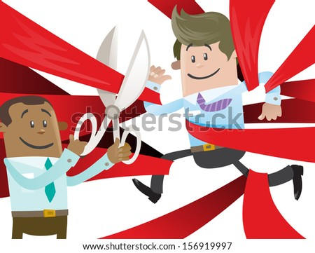 Business Buddy is Cut Free from Red Tape. Fantastic illustration of Business Buddy clearly very happy to be set free from the bureaucratic red tape that he's got caught up in. - stock photo