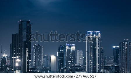 Business Building Bangkok city area at night life high angle bird eyes view - stock photo