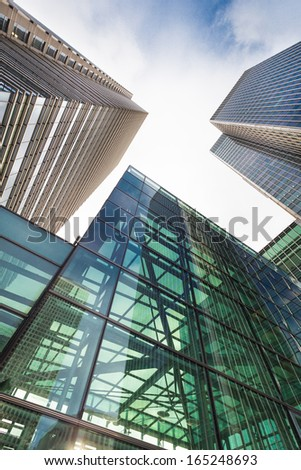 Business building in Canary Wharf. - stock photo