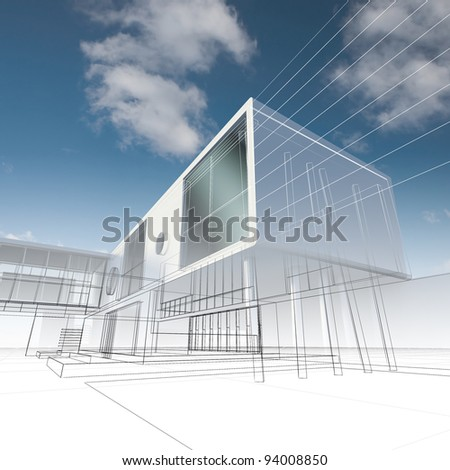 Business building. My design, not real building - stock photo