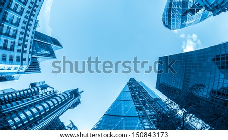Business buildings, blue toned. - stock photo