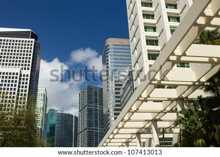 Business buildings in Miami Florida reaching for the sky, U.S.A. - stock photo