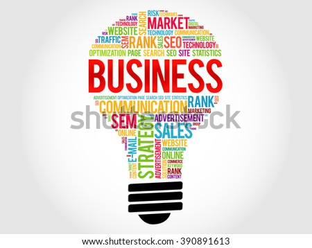BUSINESS bulb word cloud, business concept - stock photo
