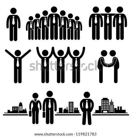 Business Businessman Group Workforce Worker Human Resources Stick Figure Pictogram Icon - stock photo