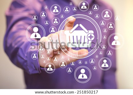 Business button basket trolley connection shopping online - stock photo