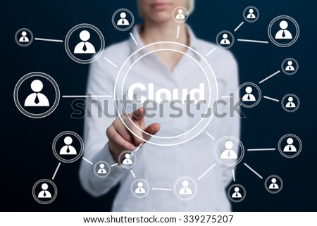 Business button cloud icon web - stock photo