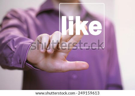 Business button like online sign icon - stock photo