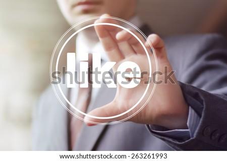 Business button like virtual icon - stock photo