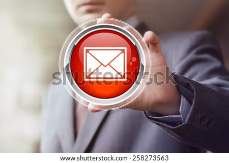 Business button messaging mail sending icon web - stock photo