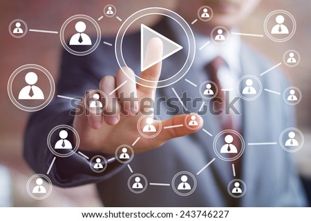 Business button play icon connection web communication - stock photo