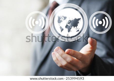 Business button Wifi map connection signal web icon - stock photo