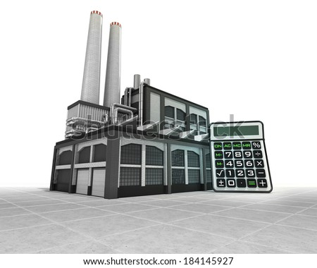 business calculator as industrial factory production concept illustration - stock photo