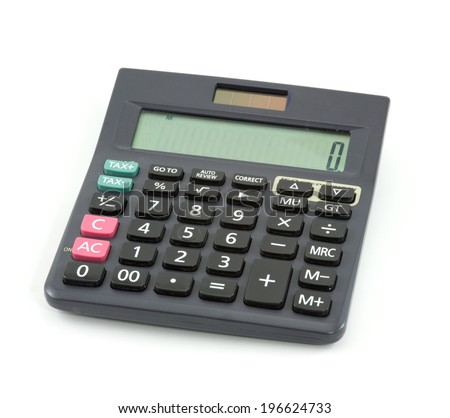 business calculator isolate on white - stock photo