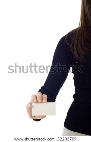 Business card closeup - businesswoman in black suit holding blank empty sign isolated over a white background - stock photo