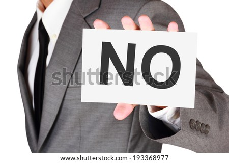 Business card expression say no idea on businessman hand isolated on white background with clipping path - stock photo