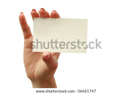 business card in a woman hand - stock photo