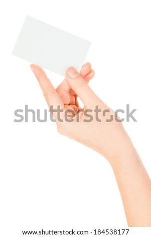 business card in hand on white background  - stock photo