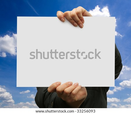 business card in hands at a girl - stock photo