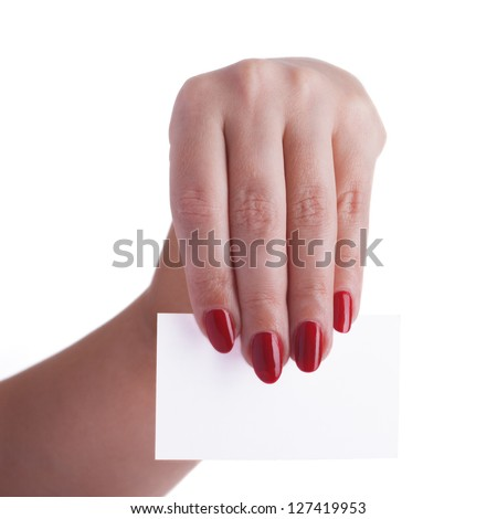 Business card in the hands of a business woman isolated on white background - stock photo