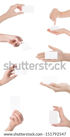 Business card in woman hand on white  - stock photo