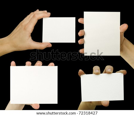 business card isolated on the black backgrounds - stock photo