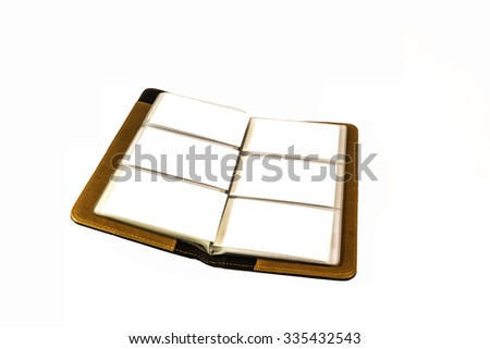 business card leather file - stock photo