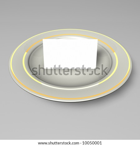 Business Card on Plate - stock photo