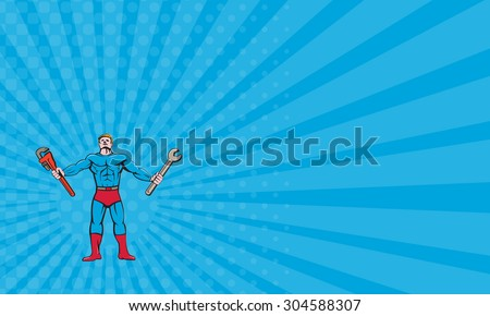 Business card showing Cartoon style illustration of a superhero handyman  holding spanner and monkey wrench standing looking up viewed from the front set on isolated white background.  - stock photo