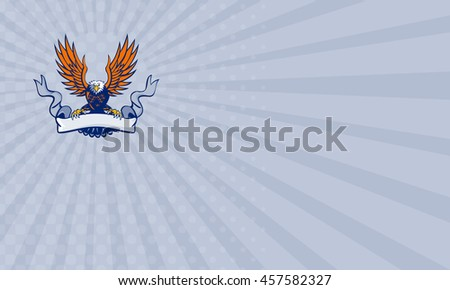 Business card showing illustration of a bald eagle with wings spread swooping holding scroll ribbon using its talons done in retro style. - stock photo