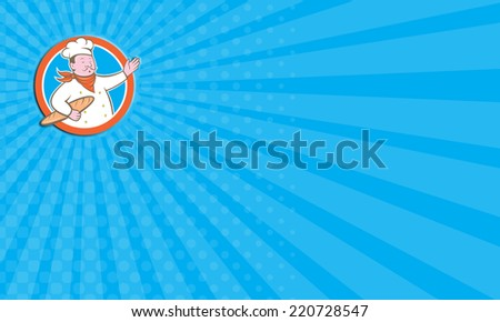 Business card showing illustration of a chef cook baker holding baguette bread set inside circle on isolated background done in cartoon style - stock photo