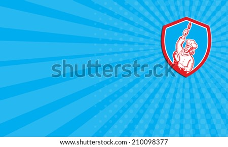 Business card showing illustration of a chef cook baker holding spatula and frying pan set inside shield crest done in retro woodcut style on isolated background.  - stock photo