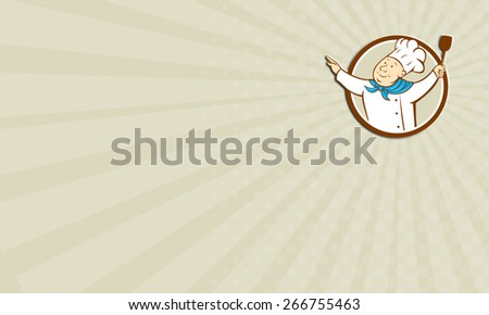 Business card showing illustration of a chef cook baker with arms out holding spatula looking up to the side set inside circle on isolated background done in cartoon style.  - stock photo